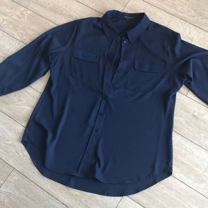 Navy blue flowy blouse long sleeve